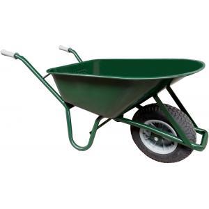 Metalen bouwkruiwagen 85 liter groen