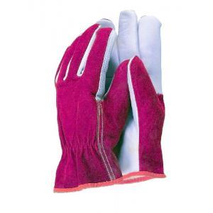 Premium leather werkhandschoenen rood/wit